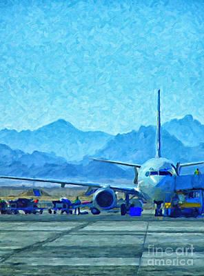 Airliners Digital Art - Aeroplane At Airport by Antony McAulay