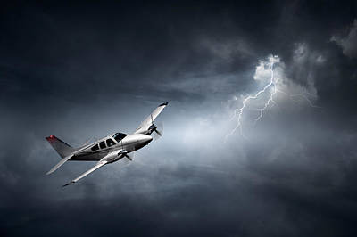 Aerials Photograph - Risk - Aeroplane In Thunderstorm by Johan Swanepoel