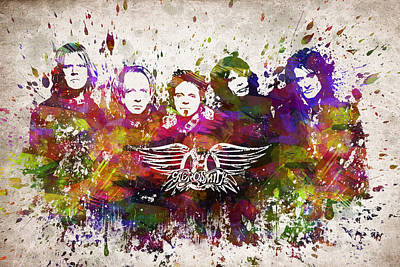 Bands Drawing - Aerosmith In Color by Aged Pixel