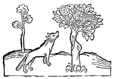 Fox Drawing - Aesop Fox And Crow by Granger