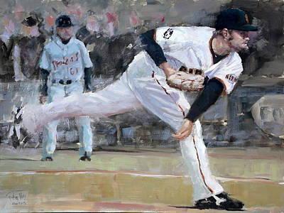 Baseball Art Painting - Affeldt Delivery by Darren Kerr