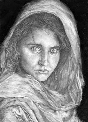 Nats Drawing - Afghan Girl by Avery Wilson