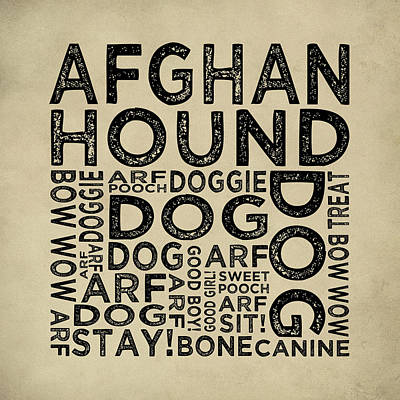 Afghan Hound Typography Print by Flo Karp