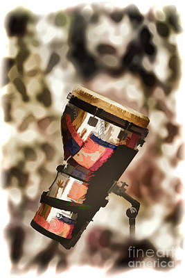 Band Painting - Africa Culture Drum Djembe Painting In Color 3237.02 by M K  Miller