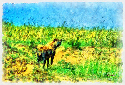 Landscape Painting - Africa Hyena by George Rossidis