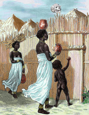 Africa Two Women And A Child Entering Print by Prisma Archivo