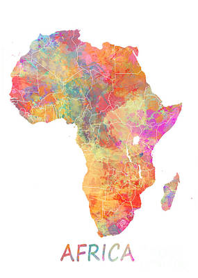 Watercolor Map Digital Art - Africa Watercolor Map by Justyna JBJart