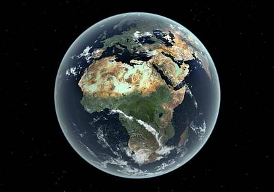 Astronomical Art Photograph - Africa With Sea Level Rise by Walter Myers