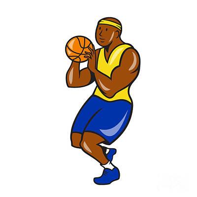 African-american Basketball Player Shoot Ball Cartoon  Print by Aloysius Patrimonio