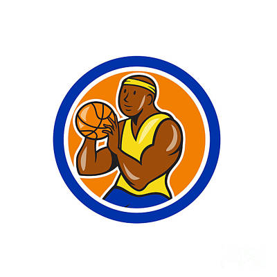 African-american Basketball Player Shooting Cartoon Circle Print by Aloysius Patrimonio