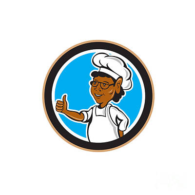 African American Chef Cook Thumbs Up Circle Print by Aloysius Patrimonio