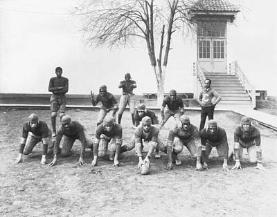 Crouched Photograph - African American Football Team by Underwood Archives