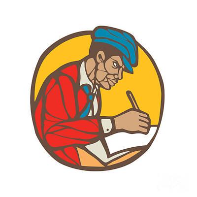 African-american Writer Journalist Woodcut Linocut Print by Aloysius Patrimonio