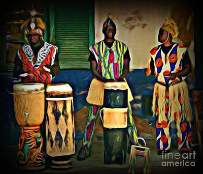 African Drummers Print by John Malone