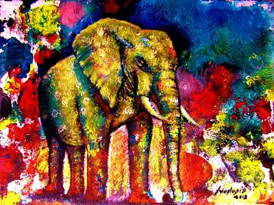 Abstract Wildlife Painting - African Elephant by Anastasis  Anastasi