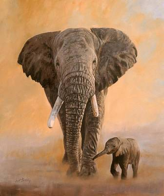 Family Love Painting - African Elephants by David Stribbling