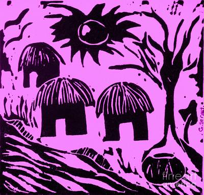 African Huts Pink Print by Caroline Street
