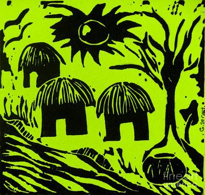 African Huts Yellow Print by Caroline Street