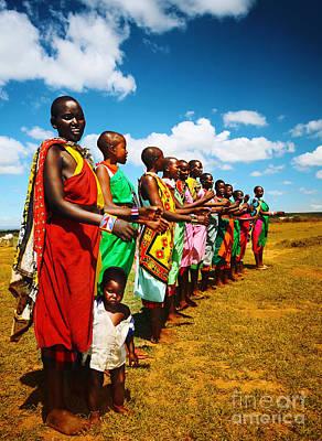 African Men Dancing Print by Anna Omelchenko