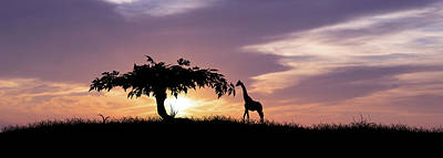 Giraffe Digital Art - African Sunset by Aged Pixel