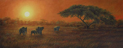 African Sunset Print by Lucie Bilodeau