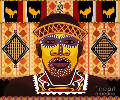African Tribesman 2 Print by Bedros Awak