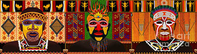 Teeth Mixed Media - African Tribesmen by Bedros Awak
