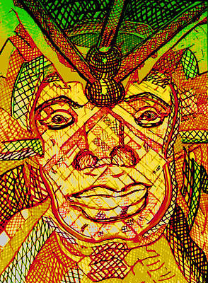 Multihued Drawing - Africanmask by Rahel TaklePeirce