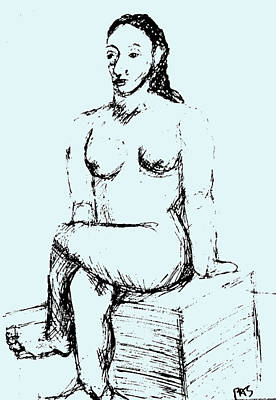 After Picasso Seated Nude Print by Paul Sutcliffe