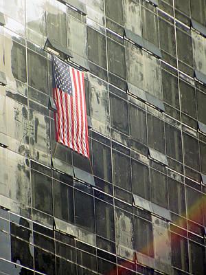After Sep. 11 Flag On Millennium Hotel Print by Mieczyslaw Rudek Mietko