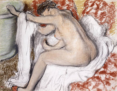 Hair-washing Painting - After The Bath Woman Drying Herself by Edgar Degas