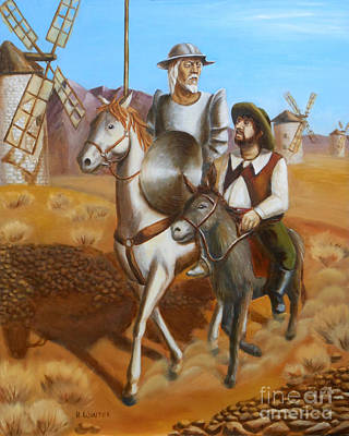 Don Quixote Painting - After The Battle - Don Quixote by Helen Winter