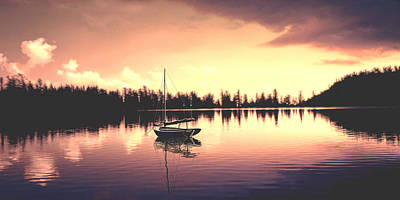 Widescreen Photograph - Afterglow  Sunset On Lake Sailboat Panoramic Picture by John Samsen