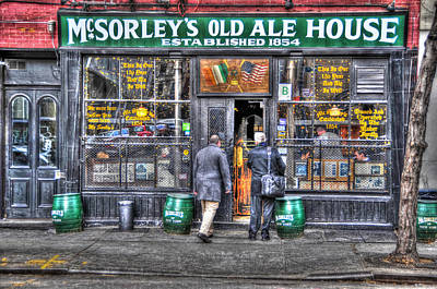 Afternoon At Mcsorley's Print by Randy Aveille