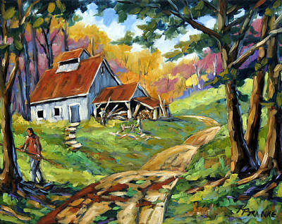 Quebec Painting - Afternoon Chores By Prankearts by Richard T Pranke