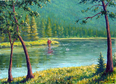 Afternoon Fishing Print by Rick Hansen