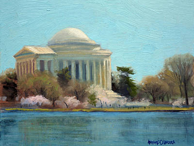 Cherry Blossoms Painting - Afternoon Light Jefferson Memorial by Armand Cabrera