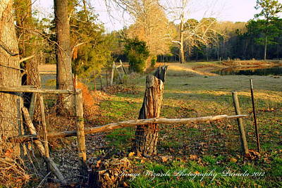 Afternoon Orange Gold Glow On The Old Broken Fence Print by ARTography by Pamela Smale Williams