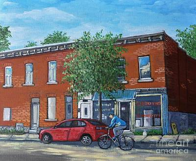 Montreal Buildings Painting - Afternoon Ride Pointe St Charles by Reb Frost