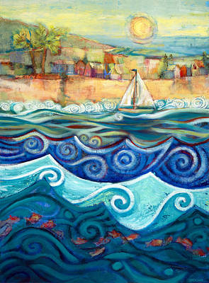 Blue Sea Painting - Afternoon Sail by Jen Norton