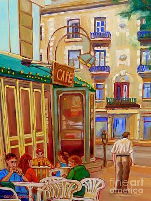 Afternoon Stroll Downtown Montreal-paintings Of Rue St Denis Carole Spandau Print by Carole Spandau