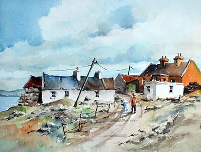 Afternoon Stroll In Dugort Achill Print by Val Byrne