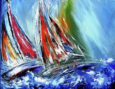 Vivid Colour Painting - Skillful Sailors Like  Stormy Seas by Mary Cahalan Lee- aka PIXI