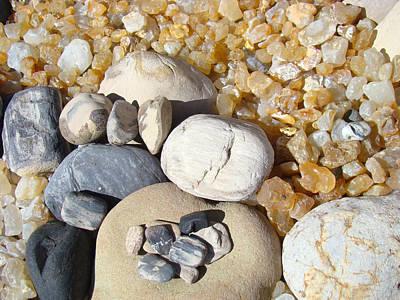 Agate Beach Oregon Photograph - Agates Rocks Art Prints Petrified Wood Fossils by Baslee Troutman