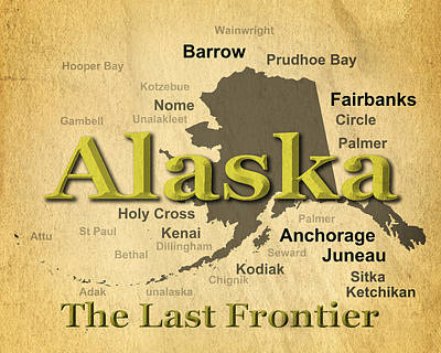 Old Town Digital Art - Aged Alaska State Pride Map Silhouette  by Keith Webber Jr