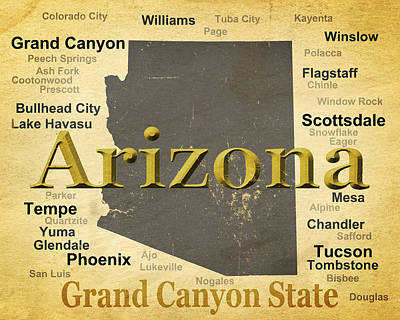 Old Town Digital Art - Aged Arizona State Pride Map Silhouette  by Keith Webber Jr