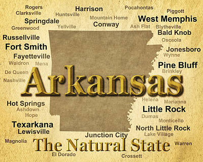 Old Town Digital Art - Aged Arkansas State Pride Map Silhouette  by Keith Webber Jr