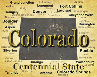Old Town Digital Art - Aged Colorado State Pride Map Silhouette  by Keith Webber Jr