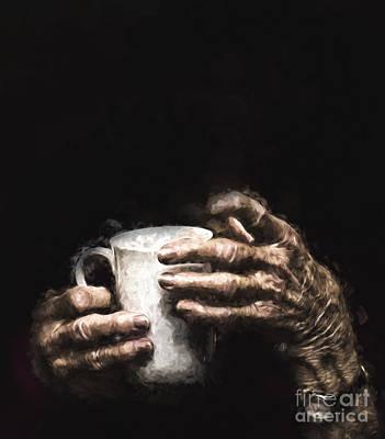 Aged Hands Holding Mug Print by Avalon Fine Art Photography