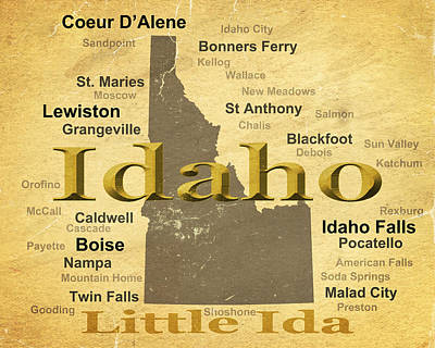 Aged Idaho State Pride Map Silhouette  Print by Keith Webber Jr
